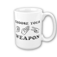 Rock Paper Scissors Funny Mug Humor from Zazzle.com