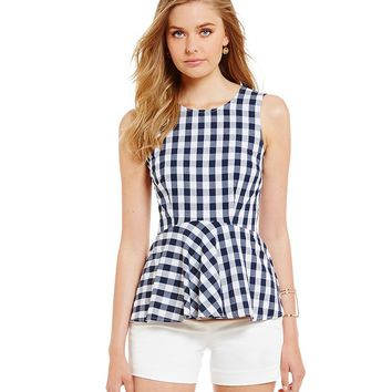 Cremieux Cindy Gingham Peplum Blouse | Dillards