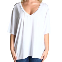 White Piko V-Back Short Sleeve Top