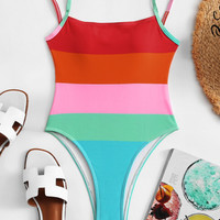 Colorblock Striped Swimsuit