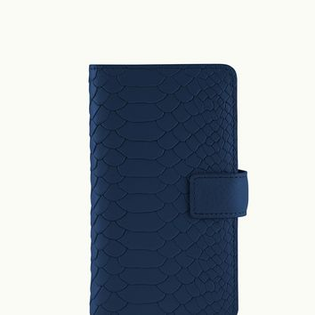 GiGi New York iPhone 6 Wallet Case Navy Embossed Python Leather