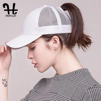 Women Summer Sport Cap Messy Ponytail  Outdoor Sunscreen Hat Nylon Caps