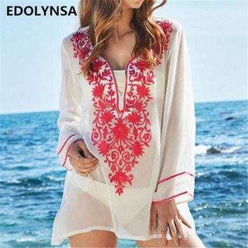 DCCK7N3 New Arrivals Beach Cover up Rayon Embroidery Swimwear Ladies Soft Poncho Beach Robe de Plage Women Kaftan Saida de Praia #Q158
