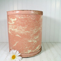 Vintage Salmon Enamel & Formica Laminate Metal Waste Can - Rustic Pink Pearl Wick Vanity Bin - Trash Basket to Fit Flat Against a Surface