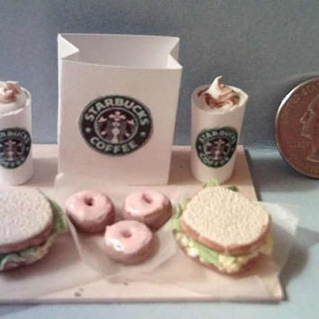 Barbie Sized Starbucks Food Board Set Egg Salad Sandwiches & Mini Donuts