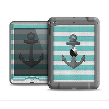 The Teal Stripes with Gray Nautical Anchor Apple iPad Mini LifeProof Nuud Case Skin Set