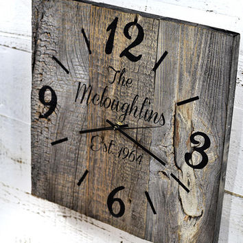Reclaimed Barn Wood Clock  Custom Clock  Personalized Family Name Clock  Large Rustic Wall Clock  Unique Wall Clocks