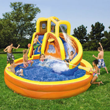 Backyard Water Slide Fun Center | Banzai Typhoon Twist Inflatable Water Slide - American Sale