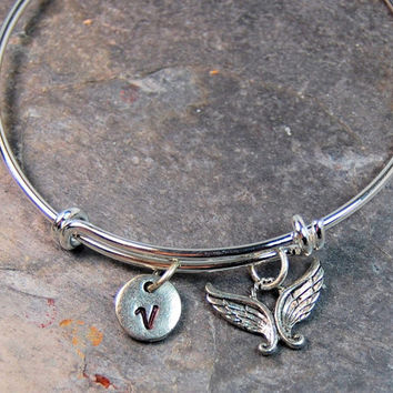 Angel Wings Charm Bangle, Expandable bangle, Personalized bracelet, Charm bangle, Initial bracelet