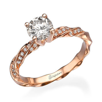 Unique Engagement Ring, Rose Gold Ring, Art Deco Ring, Diamond Engagement Ring, Vintage Ring, Antique Ring, Natural Diamond, Diamond Jewelry