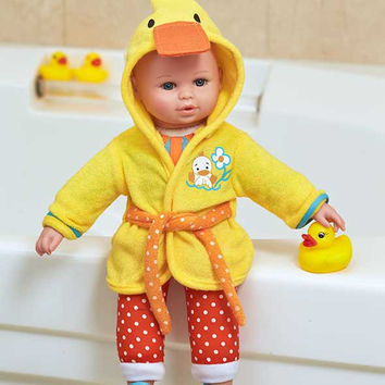 """Bath Time Doll 13"""" Set Duck Themed Robe Slippers Children Toddler Toy"""