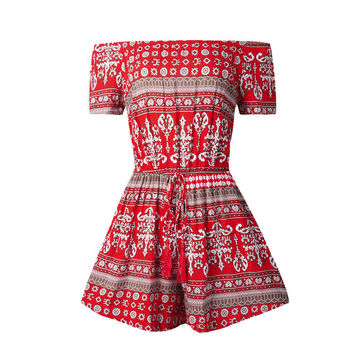 Red Printed Off Shoulder Drawstring Romper