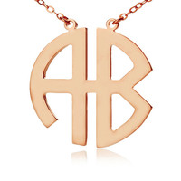 2 Letters Block Monogram Necklace in 18k Rose Gold Two Initials Nameplate Monogrammed Pendant Personalized Necklace