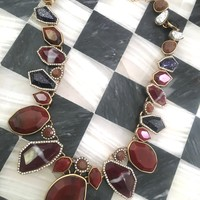 A Fantastic Faux Banded Agate and Druzy Stone Beaded Necklace in Nice Burnt Toffee & Metalic Tones