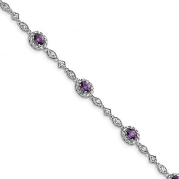925 Sterling Silver Rhodium-plated Purple and Clear Cubic Zirconia Bracelet