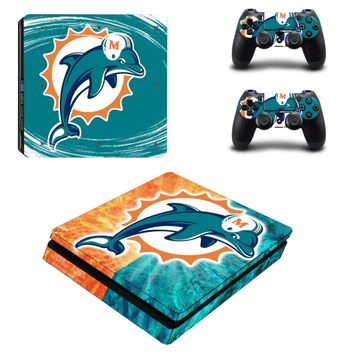 Miami Dolphins PS4 Slim Skin Sticker Decal for Sony PlayStation 4 Console and 2 Controller PS4 Slim Skins Sticker Vinyl