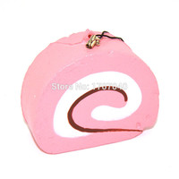 1PCS New 7CM Squishy Candy Scented Slow Rising Swiss Roll Slow Rising Cellphone Straps