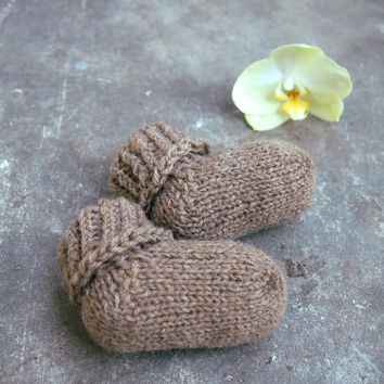 Brown baby alpaca socks, newborn socks, toddler socks, kids socks, soft wool and alpaca, baby shower gift, cream, grey, brown