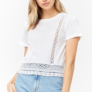 Slub Knit Crochet Trim Tee