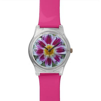 Pink and White Dahlia Floral Wristwatch