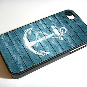 Wood print Anchor - Print on iPhone 4/4s Case - iPhone 5 Case - Samsung Galaxy S3 - Samsung Galaxy S4