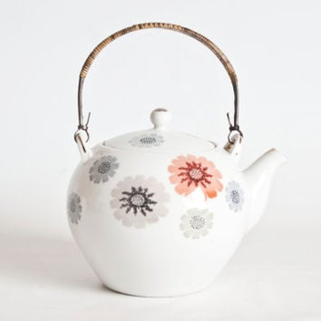 Vintage Japanese Flower Print Teapot, 2 cup Personal Tea Pot Asian Decor, Mid Century Teapot Japan, Rattan Handle