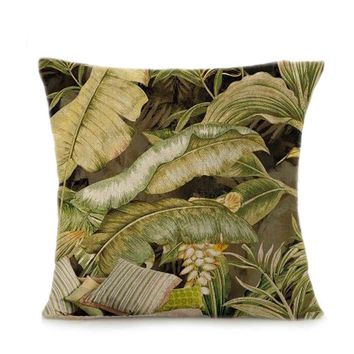 Banana Leaf Sofa Bed Home Decoration Festival Pillow Case Cushion Cover