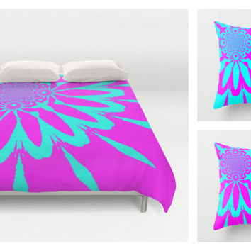 Duvet Cover & 2 Pillow Set, Fushia and Turquoise Modern Flower Set, Colorful Duvet, Colorful Blanket, Bedroom Decor, Dorm Decor, Kids Room