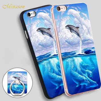 Minason Dolphin Art Sky Mobile Phone Shell Soft TPU Silicone Case Cover for iPhone X 8 5 SE 5S 6 6S 7 Plus