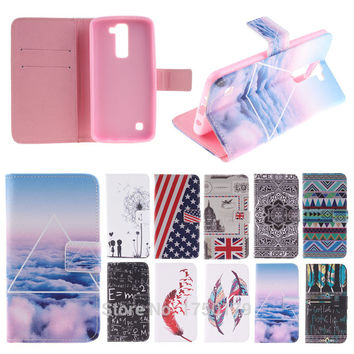 Colorful Painting Flip Leather Cover Case for LG K8 K 8 / LG K350N 5.0 Inch Cell Mobile Phone Cover with Card Holder Caque