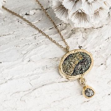 Raw Diamond Necklace, Rough Diamond Pendant, Solid 22k Gold, Pyrite Pendant, unique pendant, Handmade Artisan Necklace