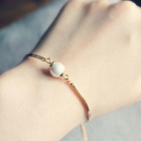 Simply Pearl Beauty Gold Band Bangle - LilyFair Jewelry