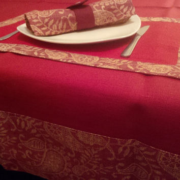 Luxury Red and Burgundy Linen Tablecloth with Border