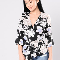 Zen Garden Top - Black Floral