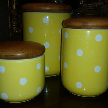 Fantastic Vintage Yellow and White Waechtersbach Set of 3 Canisters