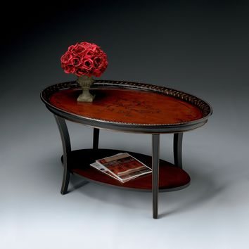 Hamlet Traditional Red & Black Painted Oval Cocktail Table by Butler Specialty Company 1591186