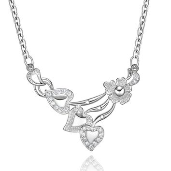 Magical Triple Lucky Hearts Cute Lotus Love Amulet Silver-Tone Sparkling Crystals Necklace