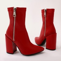 Renzo Sock Fit Ankle Boots in Red