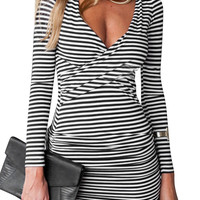 Striped V Neck Bodycon Mini Dres