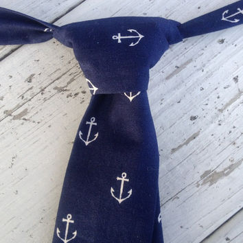 Boys Navy with White Anchors Necktie, Boys Nautical Necktie, Boys Wedding Tie, Baby Tie Photo Prop, Boys Cake Smash Tie, Boys Birthday Tie