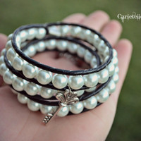 Valentines Day Key to My Heart Pearl and Leather Wrap Bracelet /Anklet