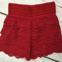 Lace Shorts: Red