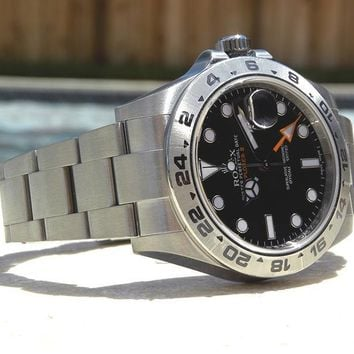 BRAND NEW MENS SS ROLEX EXPLORER II BLACK DIAL 216570 New Style Orange Hand!!