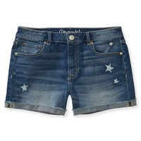 Star Destroyed Medium Wash Denim Midi Shorts