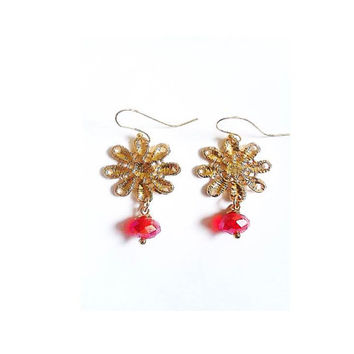 Gold Plated Flower Pendant and Red Crystal Bead Upcycle Earrings