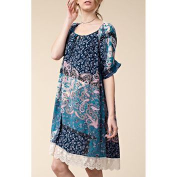 Cute Blue Boho Lace Trim Tunic Dress w/ Unique Sleeves