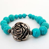 "Blue Turquoise Elastic Bracelet, Silver Flower Stretchy Beaded Bracelet, Fits up to 8.0"" Bridesmaid Gift"