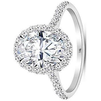 d.1.4 Ctw 14K White Gold Halo Oval Cut GIA Certified Diamond Engagement Ring (0.9 Ct D Color VS1 Clarity Center Stone)