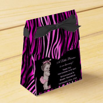 Little Princess Baby Shower Funky Zebra Pattern Party Favor Boxes