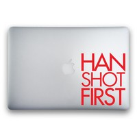 Han Shot First Sticker for MacBooks and Apple Devices